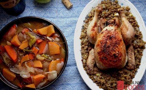 Курица тушеная с овощами в сидре