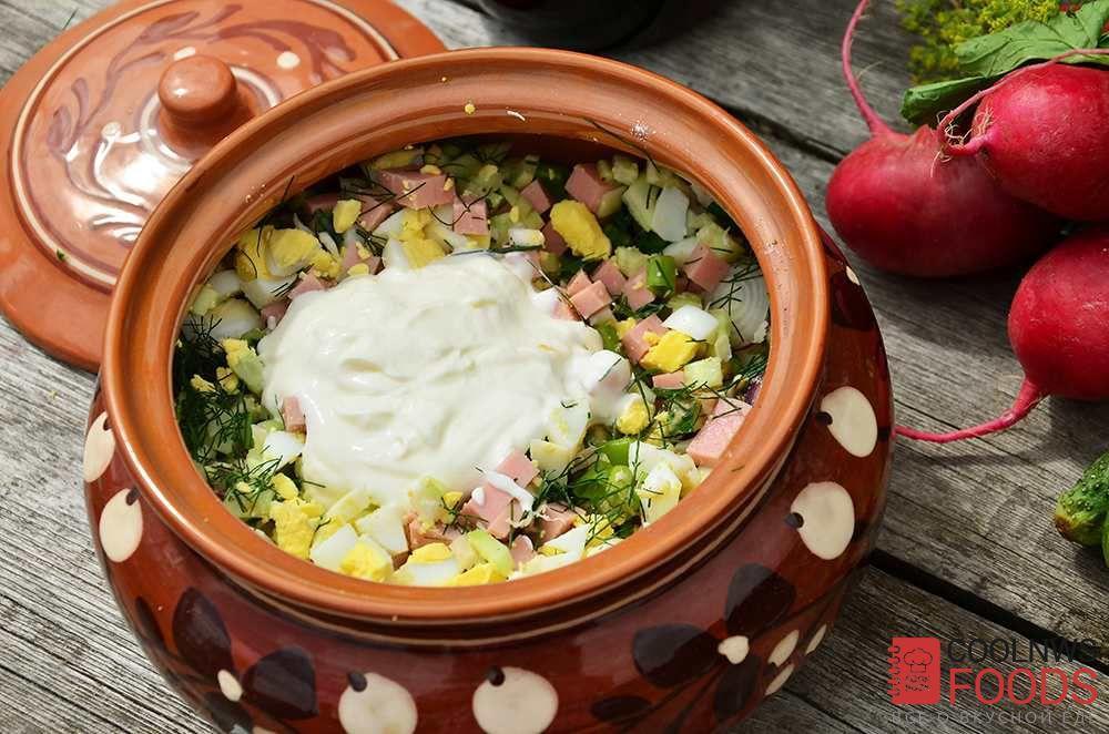 Окрошка рецепт классическая с колбасой на воде